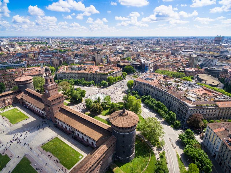 aerial-photography-view-of-sforza-castello-castle-P5NY4HE